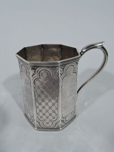 Antique Ball, Tompkins & Black Coin Silver Pastoral Baby Cup