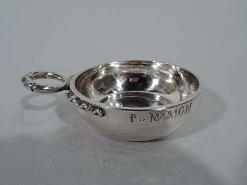 Antique French Silver Tastevin with Snake Handle