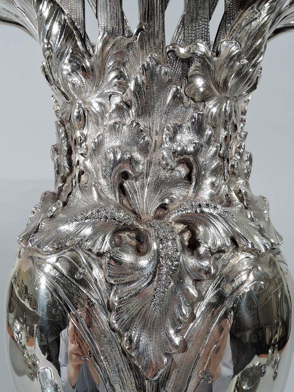 Tall Antique American Art Nouveau Sterling Silver Vase