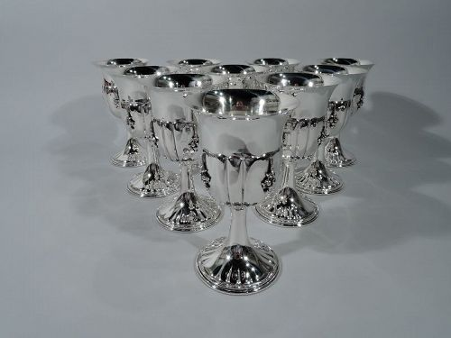 Set of 10 Stylish Italian Sterling Silver Goblets