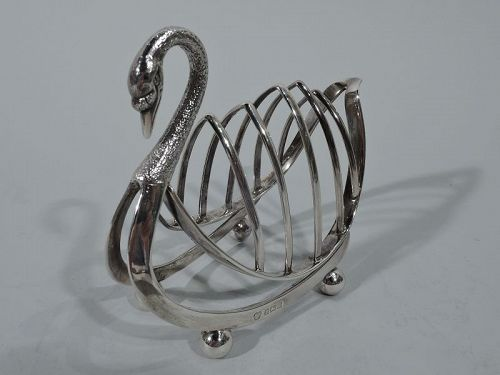 Antique English Edwardian Sterling Silver Swan-Form Toast Rack