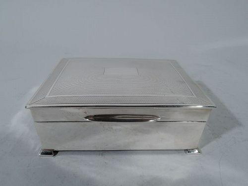 English Art Deco Modern Sterling Silver Box 1949