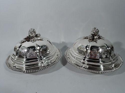 Pair of Regency Sterling Silver Serving Dishes by Robert Garrard II