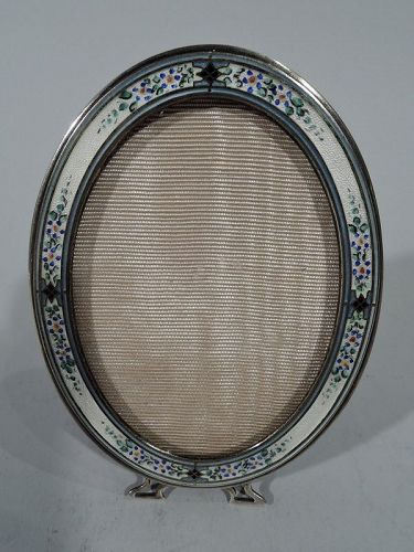 Pretty Antique American Sterling Silver and Enamel Oval Picture Frame