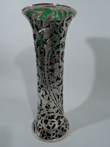 Tall Alvin Art Nouveau Emerald Glass Silver Overlay Vase