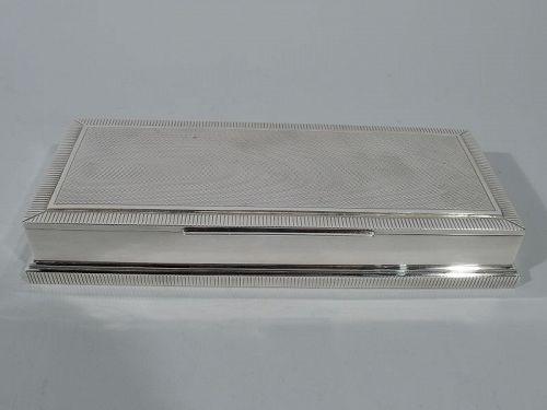 Stylish Midcentury Modern Silver Playing Cards Box