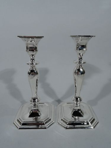 Pair of Tiffany Modern Georgian Sterling Silver Candlesticks