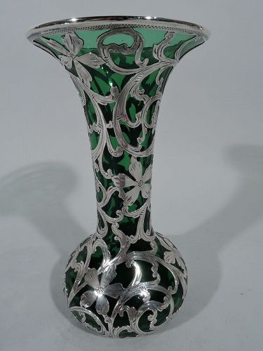 Alvin Art Nouveau Emerald Glass Vase with Silver Overlay