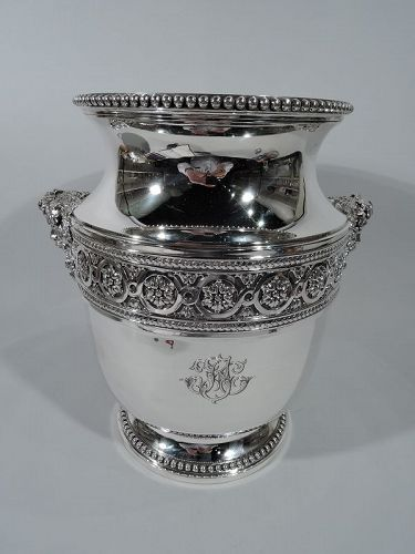 Large French Belle Epoque Classical Silver Wine Cooler