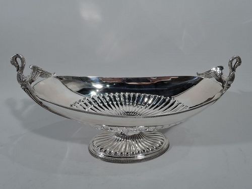 Italian Classical Empire Silver Footed Centerpiece Swan Bowl