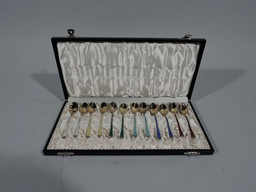 Set of 12 Danish Modern Silver Gilt & Enamel Demitasse Spoons