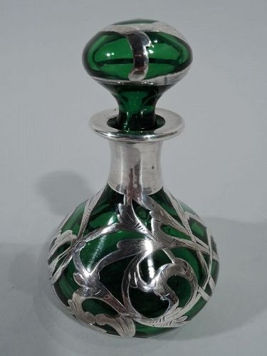 Antique American Art Nouveau Emerald Glass Perfume with Silver Overlay