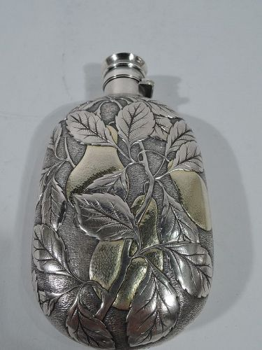 Antique Gorham Parcel Gilt Silver Flask with Fruiting Pear Branch 1884