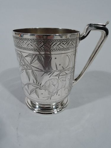 Antique English Japonesque Sterling Silver Baby Cup 1878