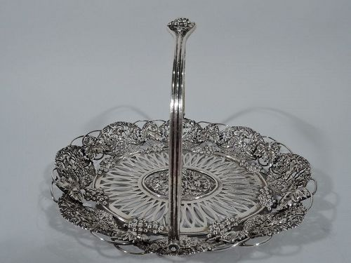 Antique American Sterling Silver Grapevine Basket