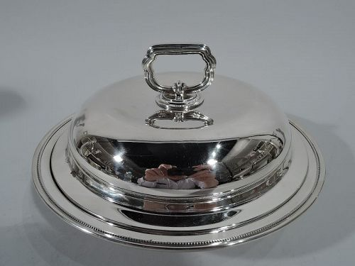 Antique American Edwardian Sterling Silver Covered Serving Dish 1907