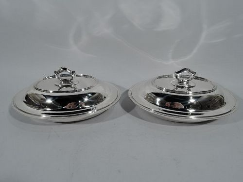 Pair of Tiffany Modern Sterling Silver Covered Vegetable Dishes