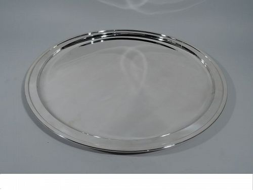 Very Large Round Sterling Silver Serving Tray by Tiffany