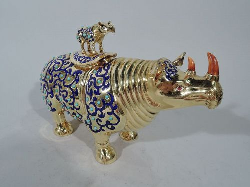 Chinese Silver Gilt & Enamel Rhinoceros Box