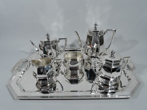 Tiffany Art Deco Modern Sterling Silver Coffee & Tea Set on Tray