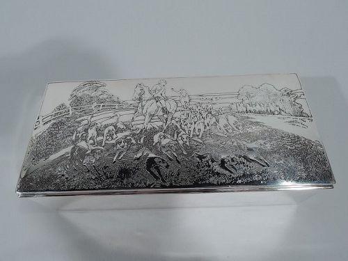 American Edwardian Sterling Silver Riding-with-Hounds Hunting Box