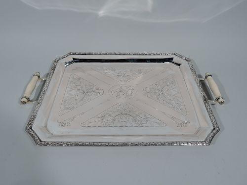 Antique German Art Nouveau Rococo Silver Serving Tray