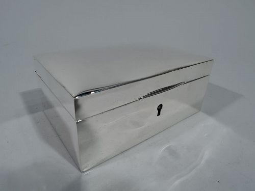 Delightful American Art Deco Modern Sterling Silver Jewelry Box By New York Maker