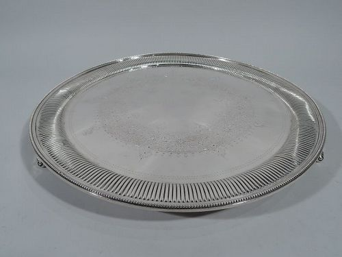 Unusual Antique English Sterling Silver Salver Tray