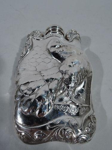 American Art Nouveau Sterling Silver Turkey Bird Flask