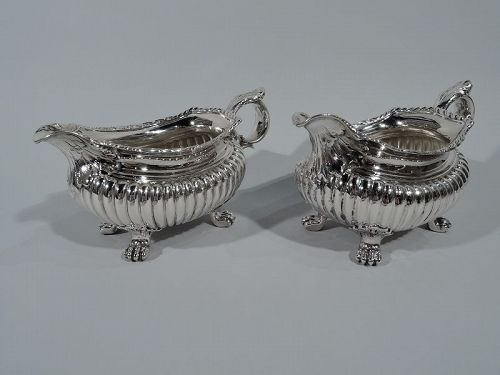 Pair of Antique Whiting Georgian Sterling Silver Gravy Boats