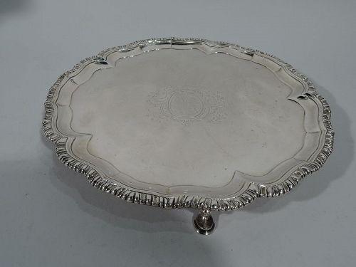 Early Irish Georgian Sterling Silver Salver Tray