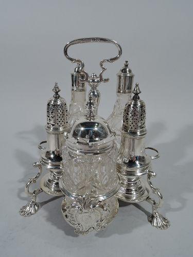 Antique English Georgian Rococo Sterling Silver Cruet Stand 1746