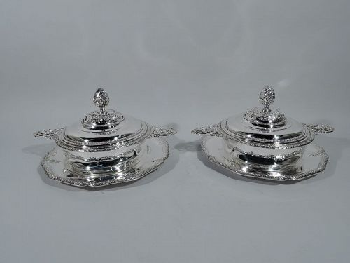 Pair of French Belle Epoque Silver Covered Dishes on Stands