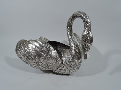 Large Antique German Sterling Silver Swan with Hinged Wings