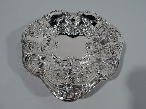 Exuberantly Romantic Antique Sterling Silver Heart Bowl by Gorham