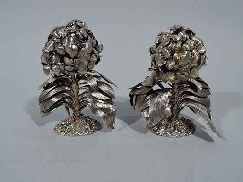 Pair of Tiffany Silver Gilt Hydrangea Flower Bushes