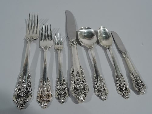 Wallace Grande Baroque Sterling Silver Dinner Set for 12 - 96 Pieces