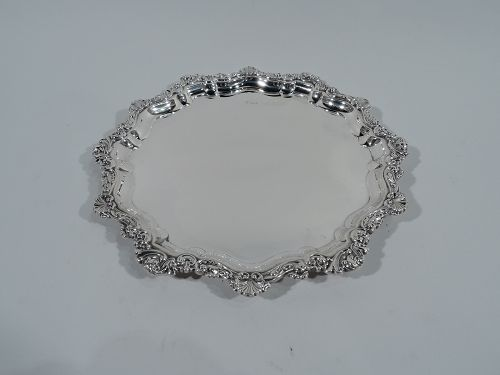 Antique English Sterling Silver Tray with Shells & Scrolls