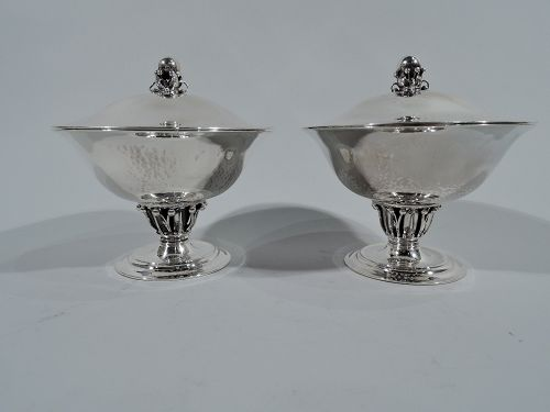 Pair of Early Georg Jensen Hand Hammered Covered Compotes