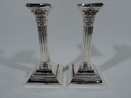 Pair of Gorham Sterling Silver Classical Column Candlesticks 1906