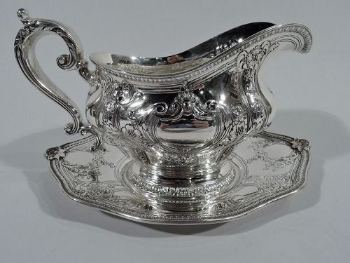 Antique Gorham Gregorian Sterling Silver Gravy Boat on Stand