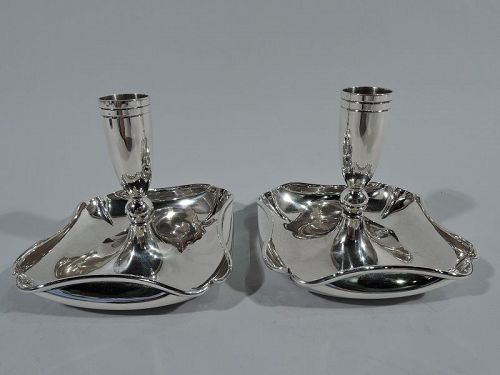Pair of Midcentury Modern Sterling Silver Candlesticks by Randahl
