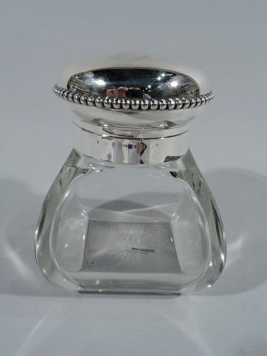 Antique American Edwardian Sterling Silver & Glass Candy Jar