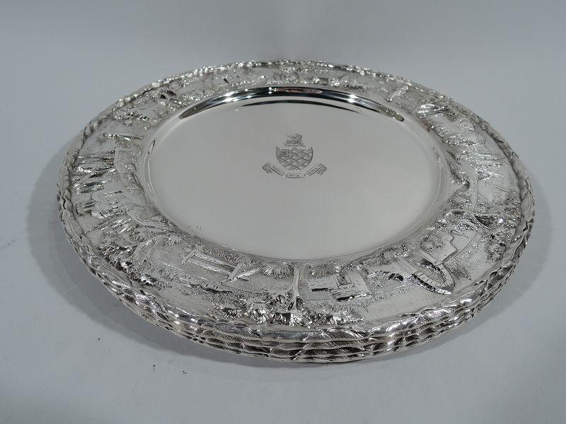 Set of 4 Rare Kirk Baltimore Sterling Silver Landscape Dinner Plates