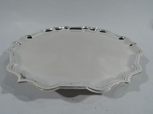 Asprey Sterling Silver Salver Tray with Traditional Piecrust Rim