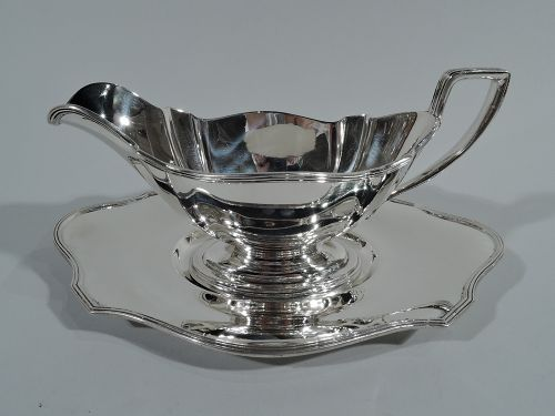 Gorham Sterling Silver Sauce Boat on Stand in Plymouth Pattern 1907