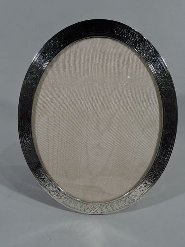 Large Art Nouveau Sterling Silver Oval Picture Frame by Tiffany