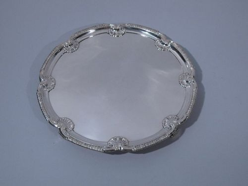Antique Georgian Sterling Silver Shell Salver Tray by Howard