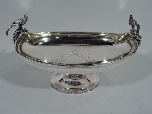 New York Aesthetic Sterling Silver Centerpiece Bowl with Birds