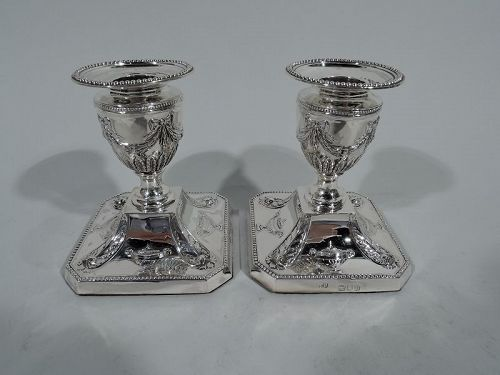 Pair of Antique English Regency Revival Sterling Silver Candlesticks